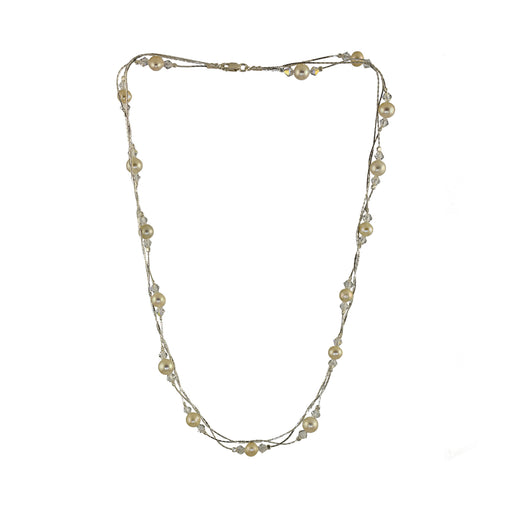 Ella 3 Pearl/Crystal Necklace