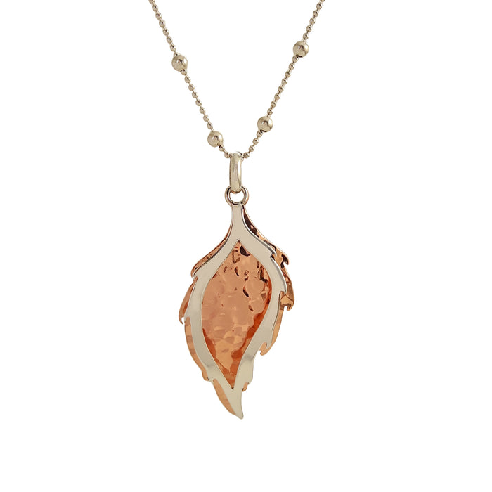 Duo Elm Leaf Hammered AG/CU Pendant