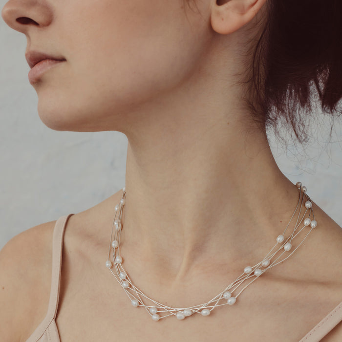 Evelyn 5 White Pearl Necklace