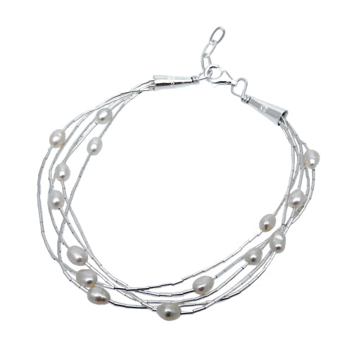 Evelyn 5 White Pearl Bracelet