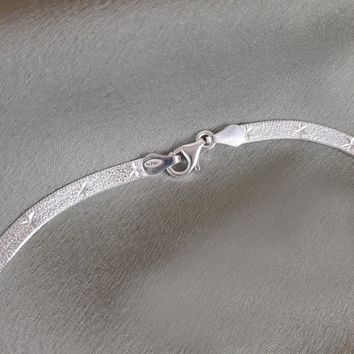 Star Snake Chain 40cm Medium Silver Necklace
