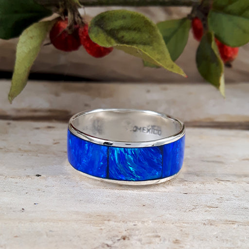 Flinder Wide Blue Opal Ring