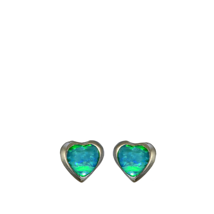 Flinder Heart Green Stud Earrings