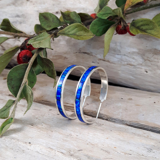 Flinder Blue Large Hoop Earrings