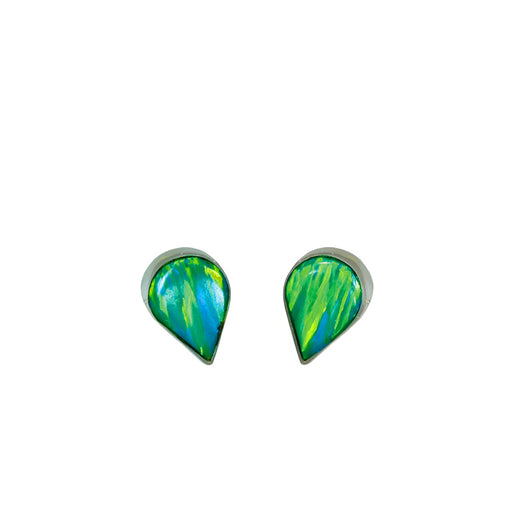 Flinder Green Teardrop Stud Earrings