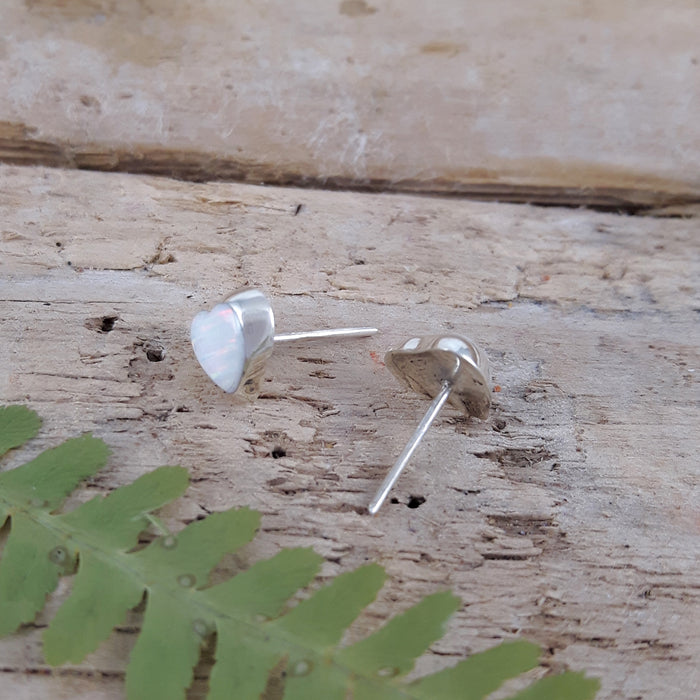 Flinder Heart White Small Stud Earrings