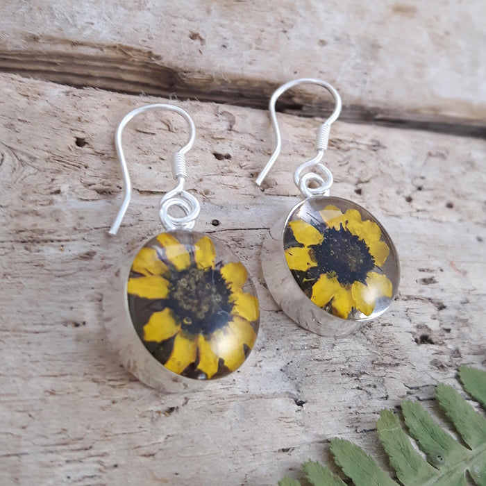 Flores Sunflower Round Drop Earrings
