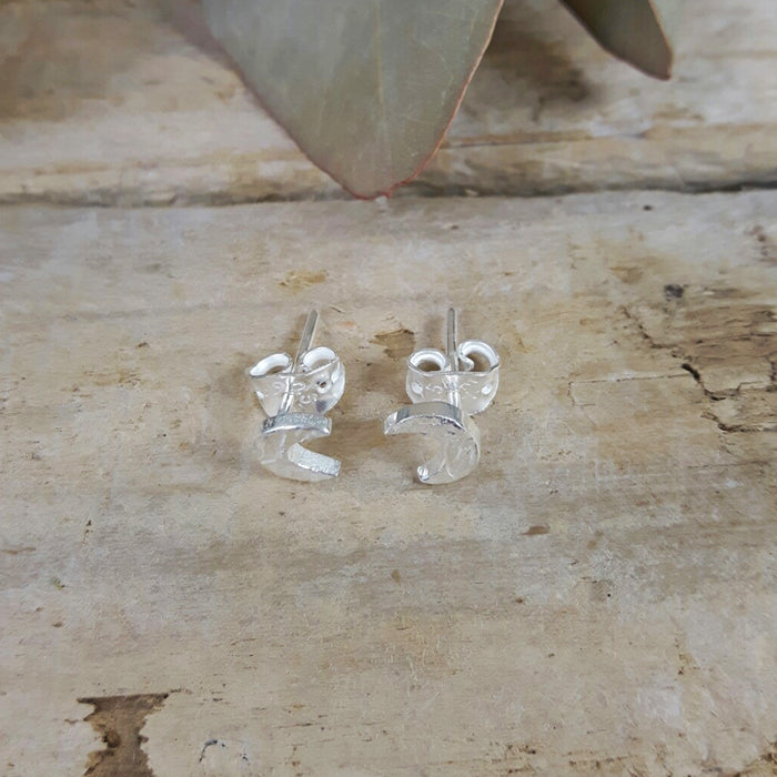 Foresta Tiny Moon Silver Stud Earrings