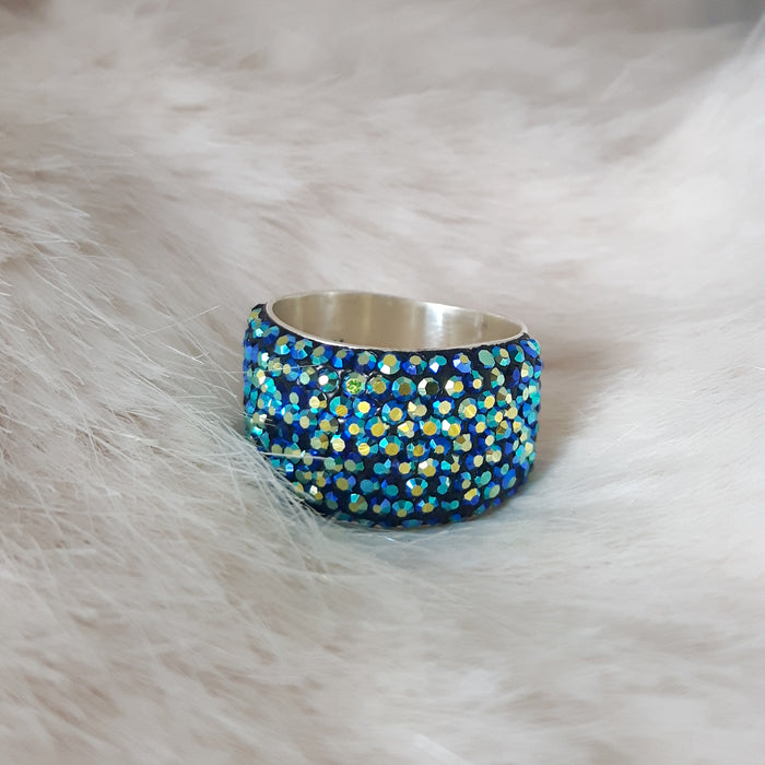 Gala Wide Iridescent Green Ring