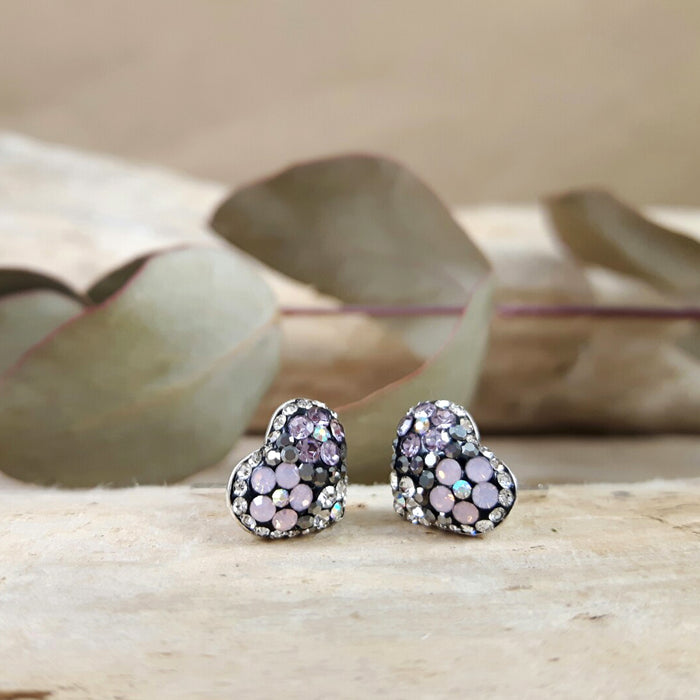 Gala Heart Tutti Frutti Jet Stud Earrings