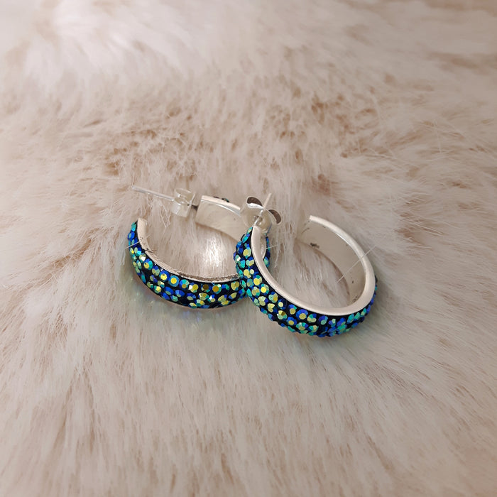 Gala Iridescent Green Hoop Stud Earrings