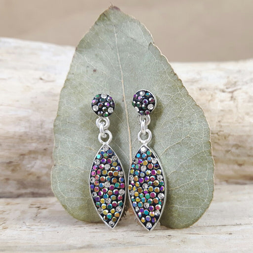 Gala Leaf Jet Drop Earrings