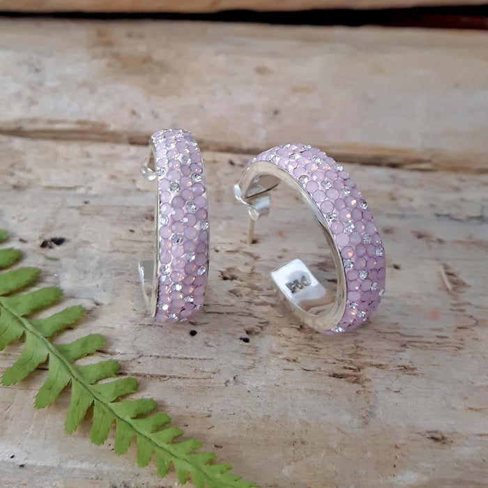 Gala Blush Hoop Stud Earrings