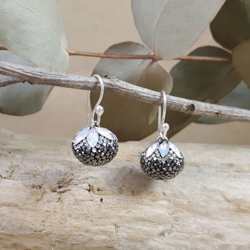 Gala Jet Sphere Drop Earrings