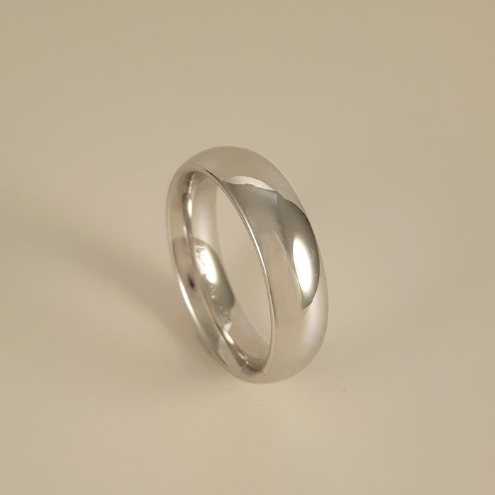 Gerstner 750 Polished White Gold Mens Wedding Band 261996/6