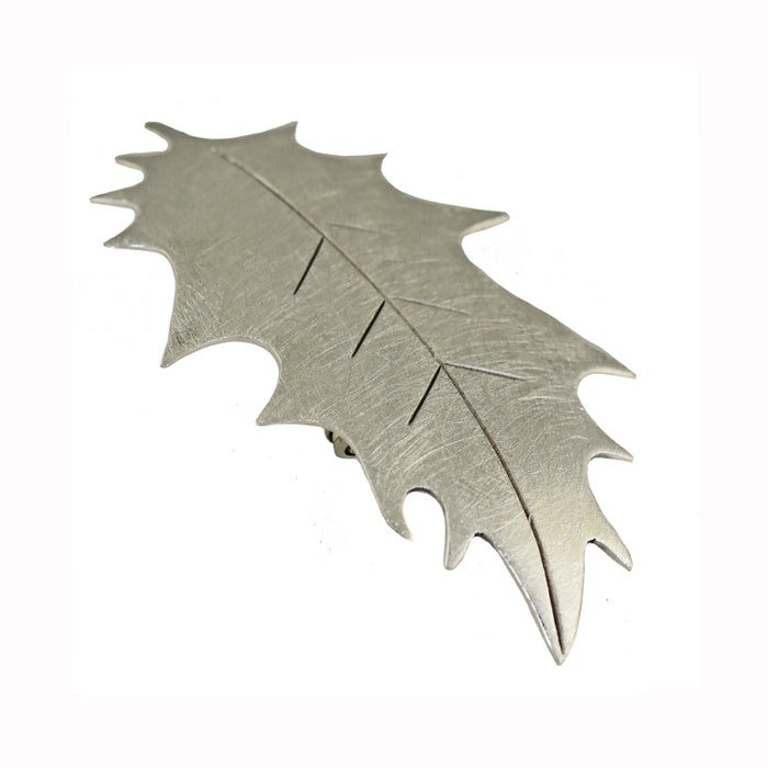 Flora Holly Silver Brooch