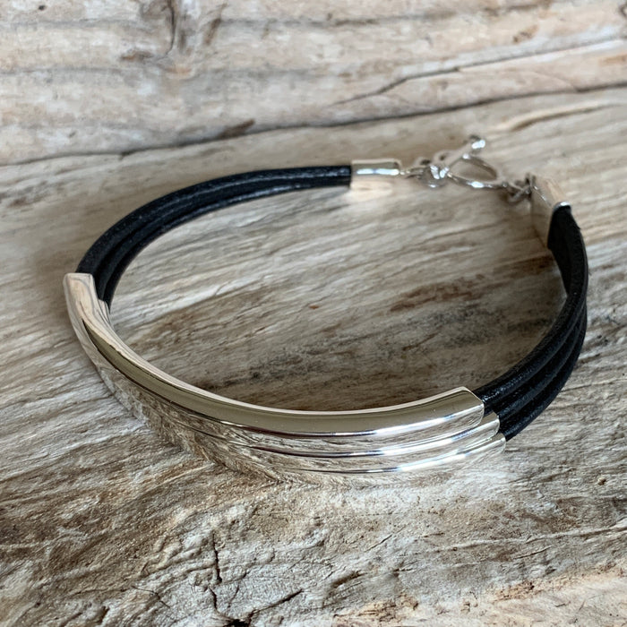 Rioja Leather Black 3 Bracelet
