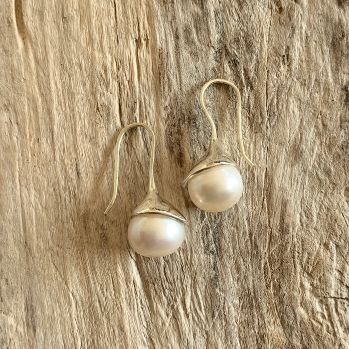 Audrey White Pearl Drop Earrings
