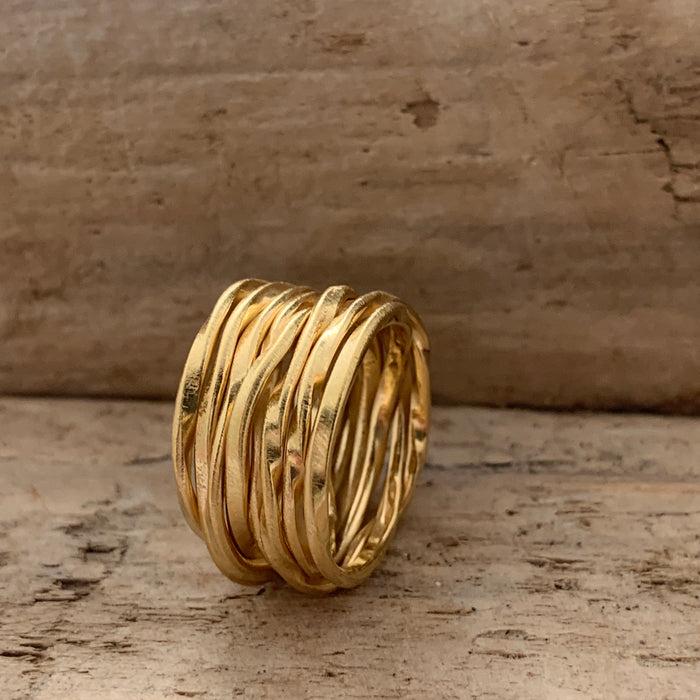 Lattice Wide Gold Ring