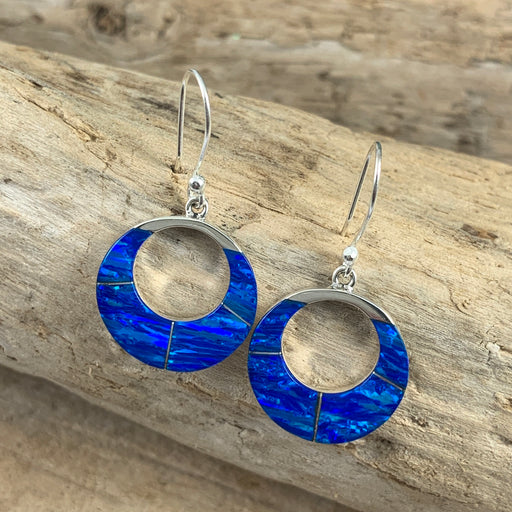 Flinder Blue Bonita Round Hoop Drop Earrings