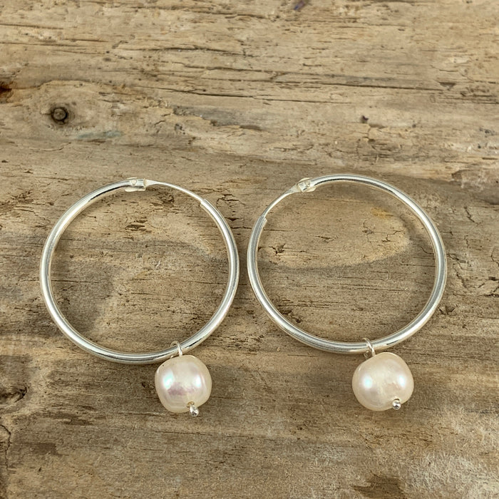 Hoop Pearl 3cm Stud Earrings