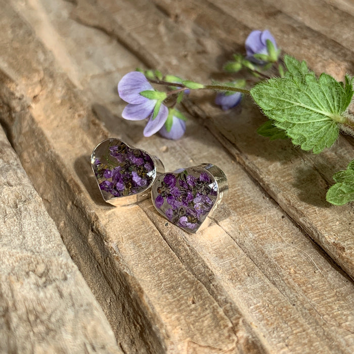 Flores Heather Heart Stud Earrings