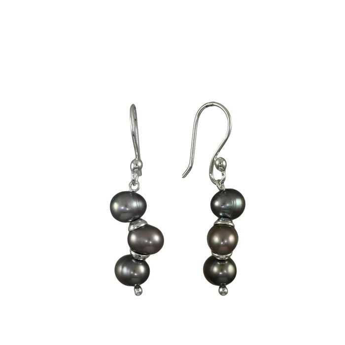 Ingrid Grey Pearl Drop Earrings