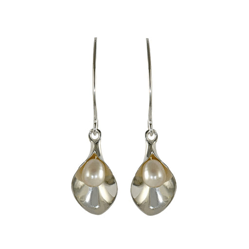 Calla Lily White Pearl Drop Earrings
