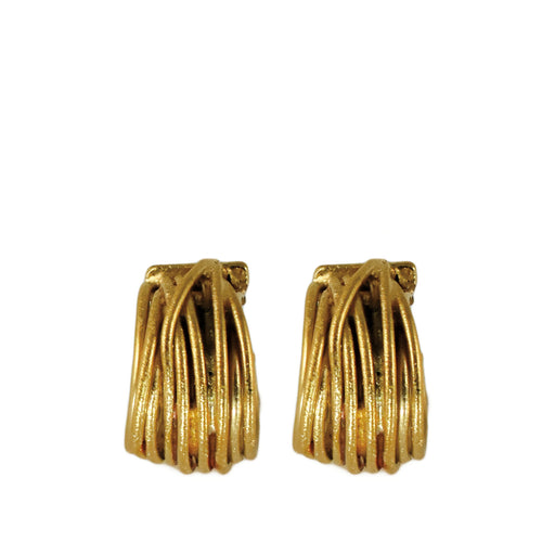 Lattice Hoop Gold Earrings