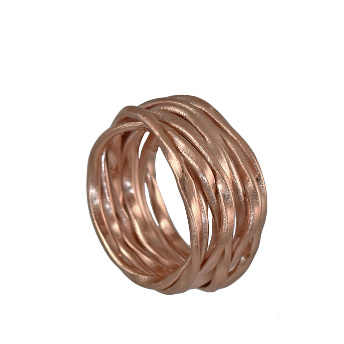 Lattice ring in rose gold plated sterling silver, by Palenque