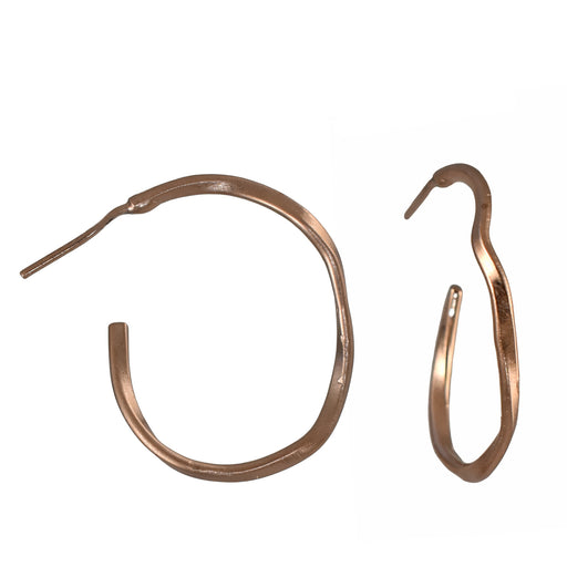 Lattice Single Hoop Rose Gold Earrings