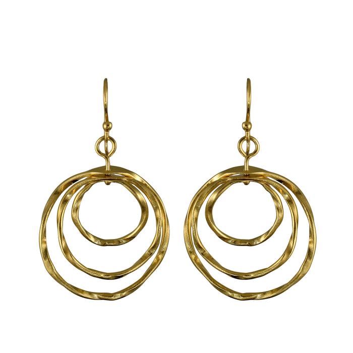 Lattice Trio Drop Gold Earrings