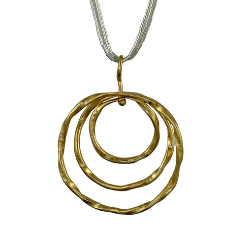 Lattice Trio Drop Gold Pendant