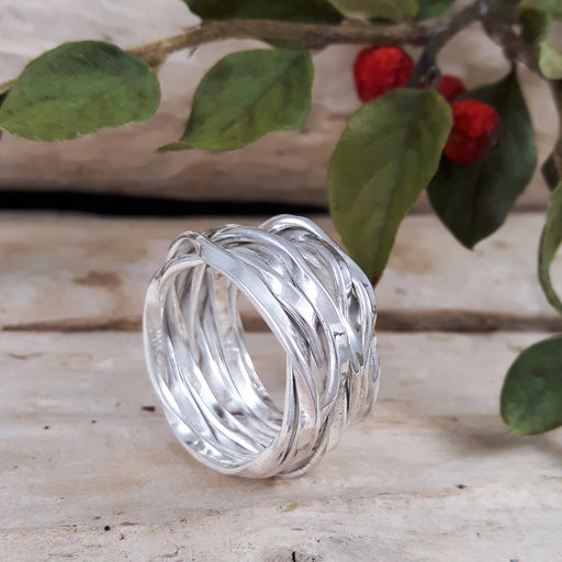 Lattice Wide Silver Ring