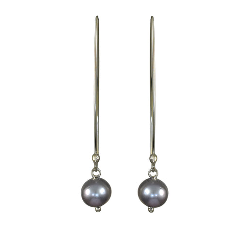 Classic Large Grey Pearl Drop Earrings