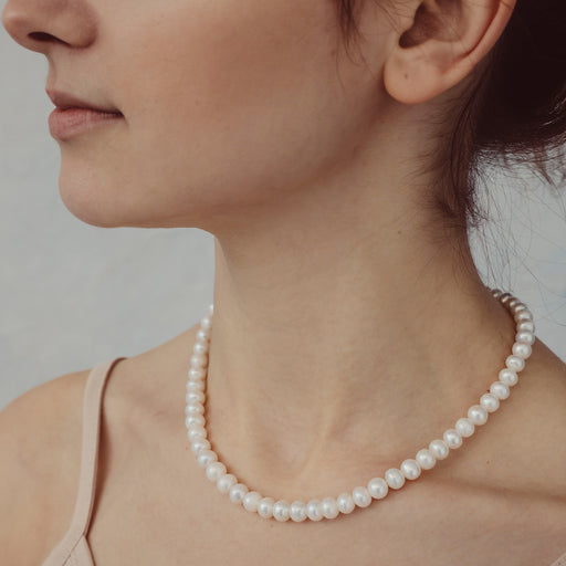 Mary Large White Pearl Necklace