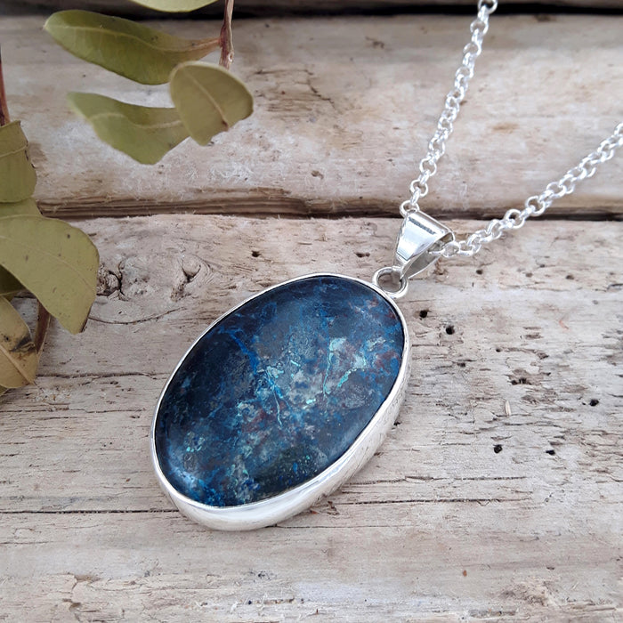 Monet Azurite Large Oval Pendant