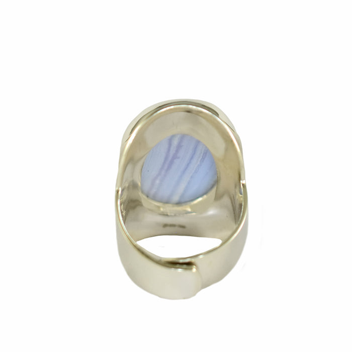 Monet Blue Lace Agate Adjustable Ring
