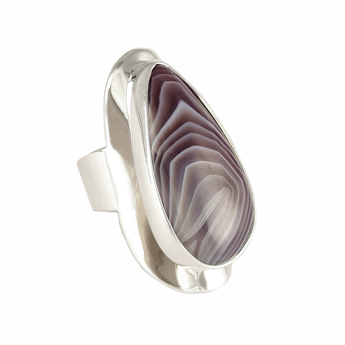 Monet Botswana Agate Teardrop B Ring