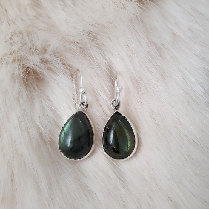 Monet Dainty Labradorite Teardrop Drop Earrings