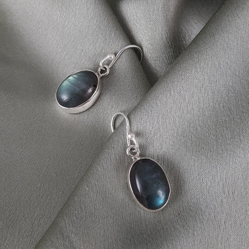 Monet Dainty Labradorite Oval Drop Earrings