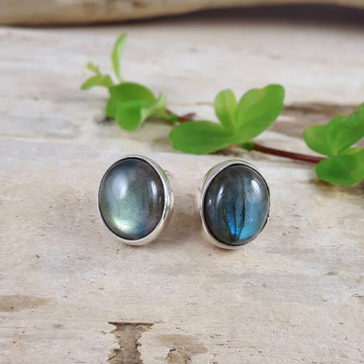 Monet Dainty Labradorite Oval Stud Earrings