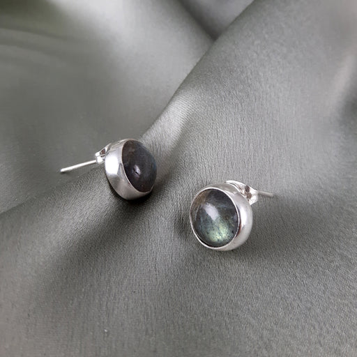 Monet Dainty Labradorite Round Stud Earrings