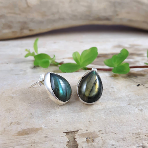 Monet Dainty Labradorite Teardrop Stud Earrings
