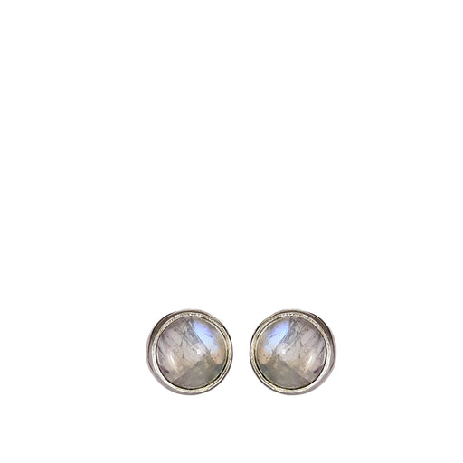 Dainty Moonstone Round Stud Earrings