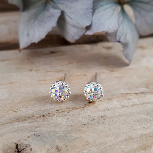 Allegra White Tiny Stud Earrings