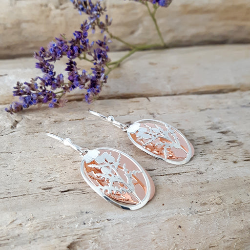 Celtic Thistle Silver/Copper Earrings