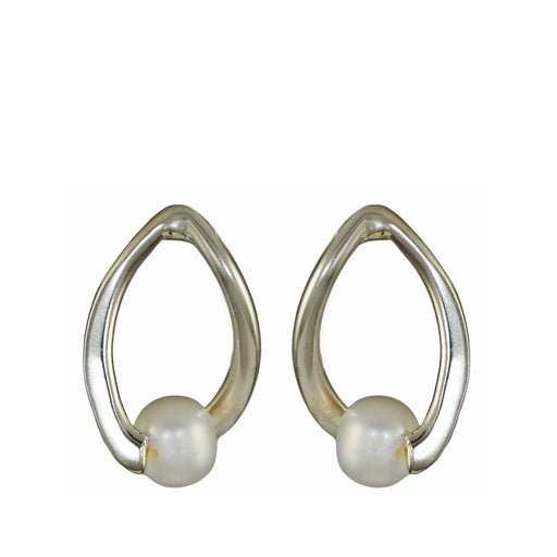 Orion White Pearl Stud Earrings
