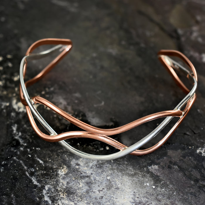 Duo Puzzle Copper/Silver Cuff
