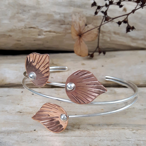 Ray Leaf Polished Cu/Ag Cuff